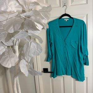 Turquoise button up blouse